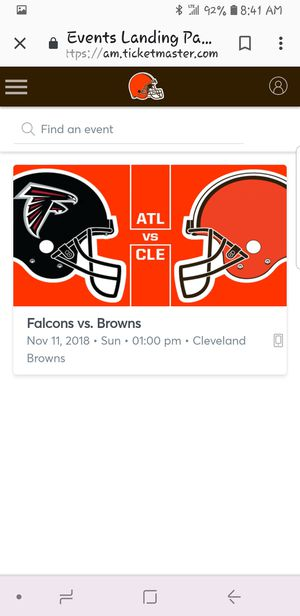 2 tickets to Cleveland Browns vs Atlanta Falcons for Sale in Columbus, OH