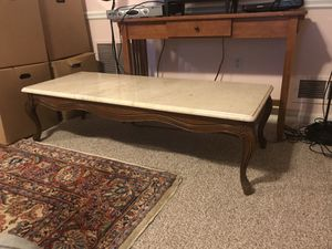 French provincial coffee table with beautiful marble top for Sale in Silver Spring, MD