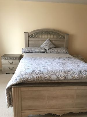 Queen bed with mattress and spring box and night stand for Sale in Alexandria, VA