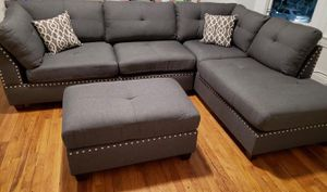 Brand New Blue Grey Blended Linen Sectional Sofa Couch + Ottoman for Sale in Silver Spring, MD