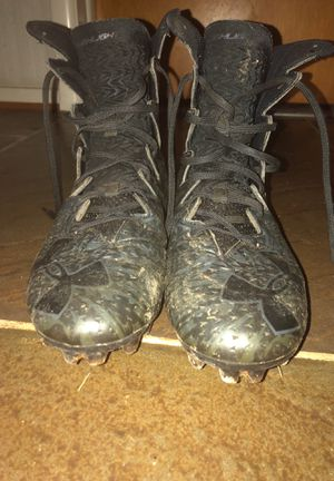 Under Armour Highlight Lux MC Black Football Cleats (Size 10) WITH NEW NIKE LACES for Sale in Silver Spring, MD