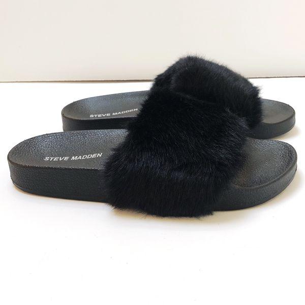 e22de4aa941 Steve Madden • Softey Slide • 7 • Black Faux Fur Sandals for Sale in ...