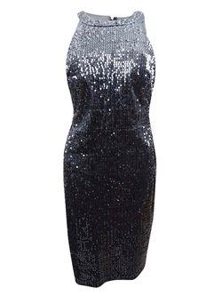 Nightway Women's Velvet Sequined Sheath Dress 10, Charcoal Thumbnail