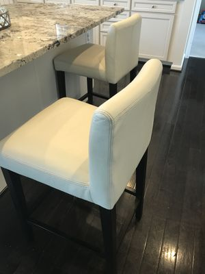 Two West elm leather counter stools like pottery barn for Sale in Aldie, VA