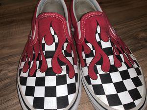 Photo Vans Slip-On 'Checker Flame'