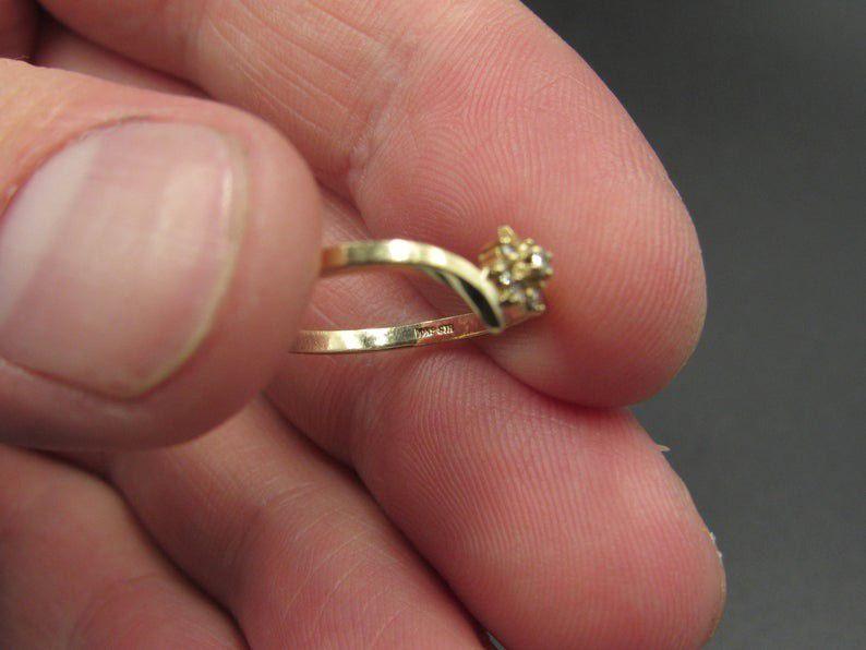 Size 5.75 10K Gold Yellow Flower Diamond Band Ring Vintage Estate Wedding Engagement Anniversary Gift Idea Beautiful Elegant Unique Cute