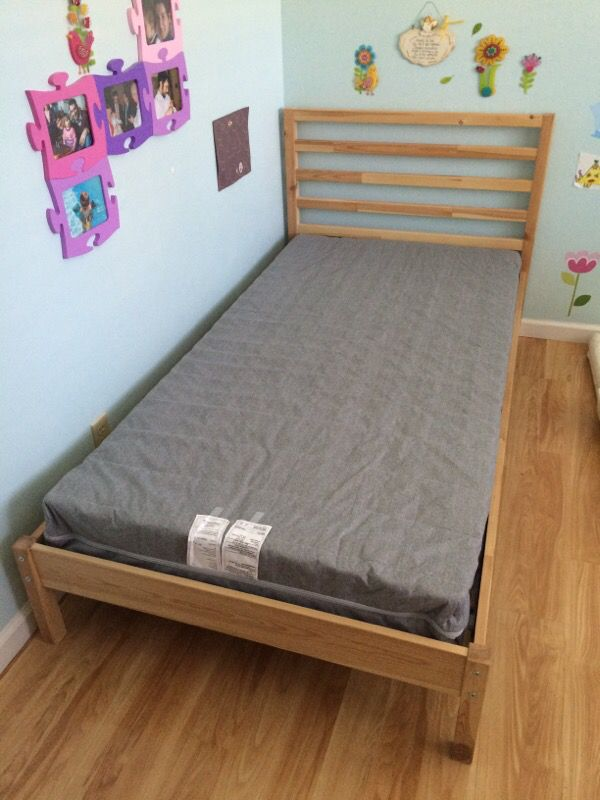 meet 8101e 18334 TARVA single bed + JOMNA mattress + mattress cover, sheets sets and  comforter for Sale in Sunnyvale, CA - OfferUp