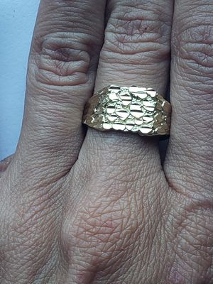 Photo 10k Yellow real gold nugget ring size 9