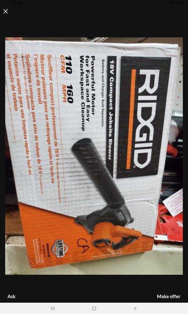 RIDGID 18V CORDLESS BLOWER NEW TOOL ONLY. BRAND NEW