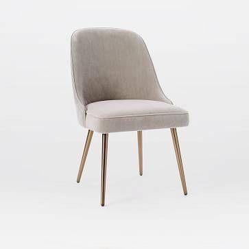 West Elm- Mid-Century Upholstered Dining Chair, Performance Velvet, Dove Gray, Oil Rubbed Bronze Legs