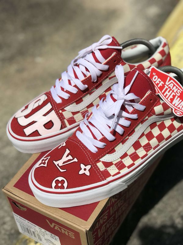 Custom Vans Supreme X Louis Vuitton One Of A Kind Size 9 Never Worn Trade For IPhone 6s And Up Cash Or Sale In West Palm Beach
