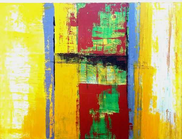 Yellow Wall Art Decor Abstract Acrylic Painting (Arts & Crafts) in ...