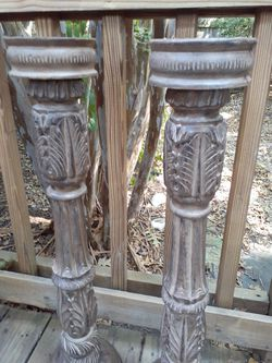 Tall wood candle holders Thumbnail