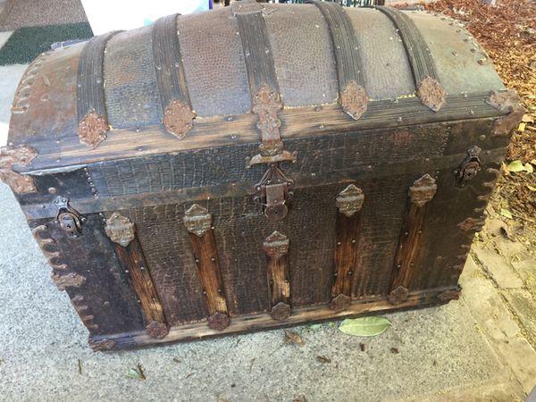 Antique Camelback Trunk W Alligator Skin For Sale In Renton Wa