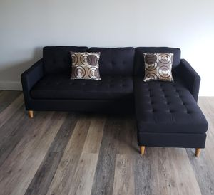 Brand New Black Linen Sectional Sofa Couch +2 Accent Pillows for Sale in Silver Spring, MD