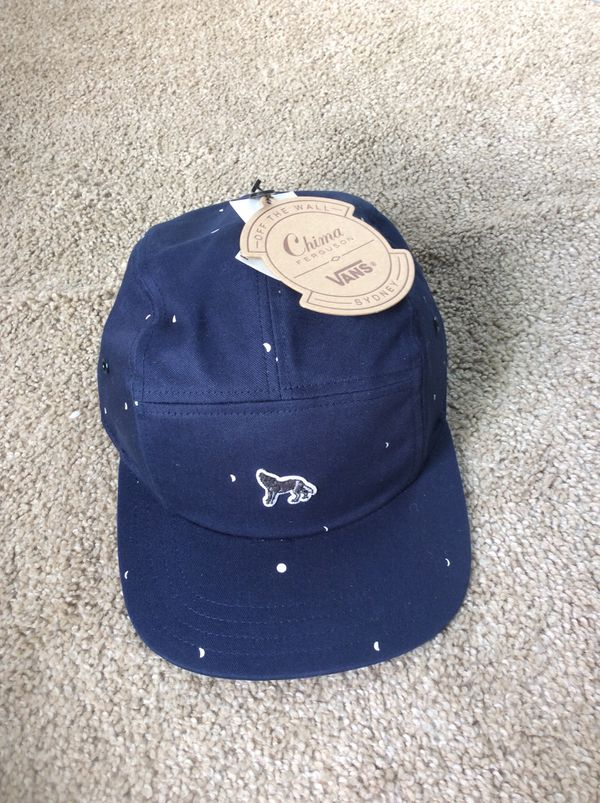 5917caa516d Vans Off The Wall Chima Ferguson Camper Wolf Lobo Blue 5-Panel Hat Cap  Embroidered Patch