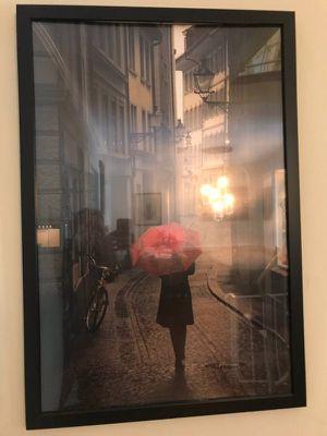 Red Rain framed Art Print by Stefano Corso Red umbrella - $25 (Reston) for Sale in Reston, VA