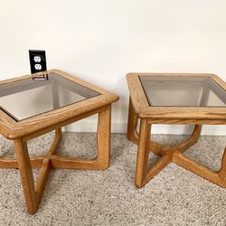• vintage retro deco wood + smokey glass accent tables • Thumbnail