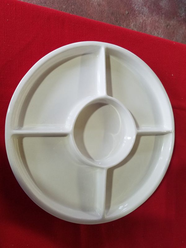 5 Sectioned Appetizer Chip Dip Tray White Ceramic With
