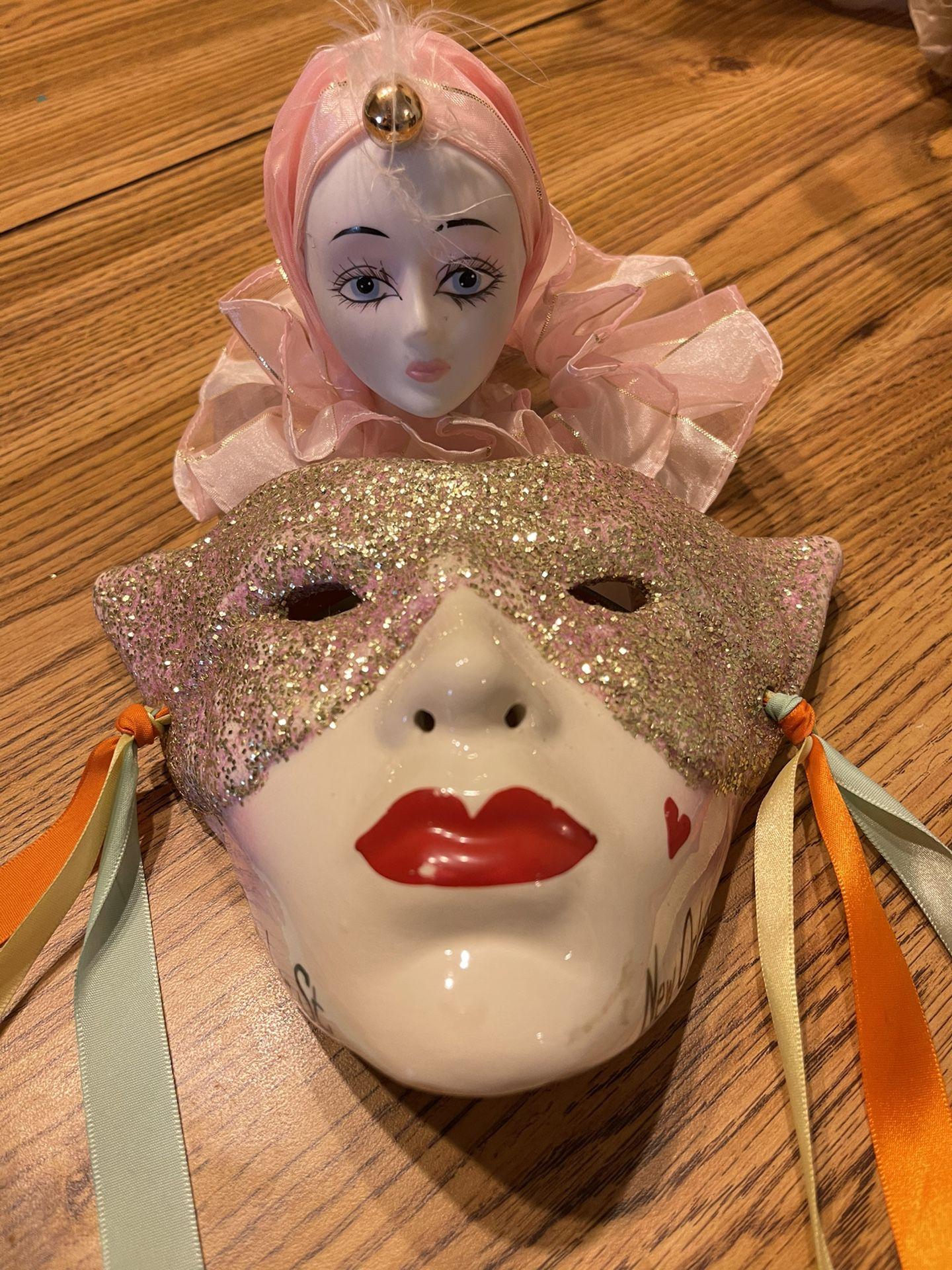 Mardi Gras Ceramic Mask And Figurine