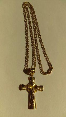 Jesus Christ Crucifix Gold & Silver Chain Thumbnail
