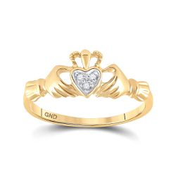 Saris and Things 14kt Yellow Gold Womens Round Diamond Claddagh Heart Ring .02 Cttw Thumbnail