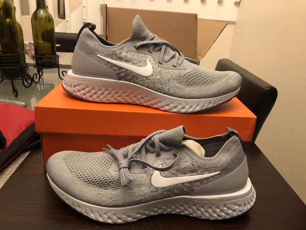 529b02a78adfd Men s Nike Epic React Flyknit AQ0067-002 Wolf Grey White Cool Grey Pure  Platinum Size 12 Shoes New w  Box