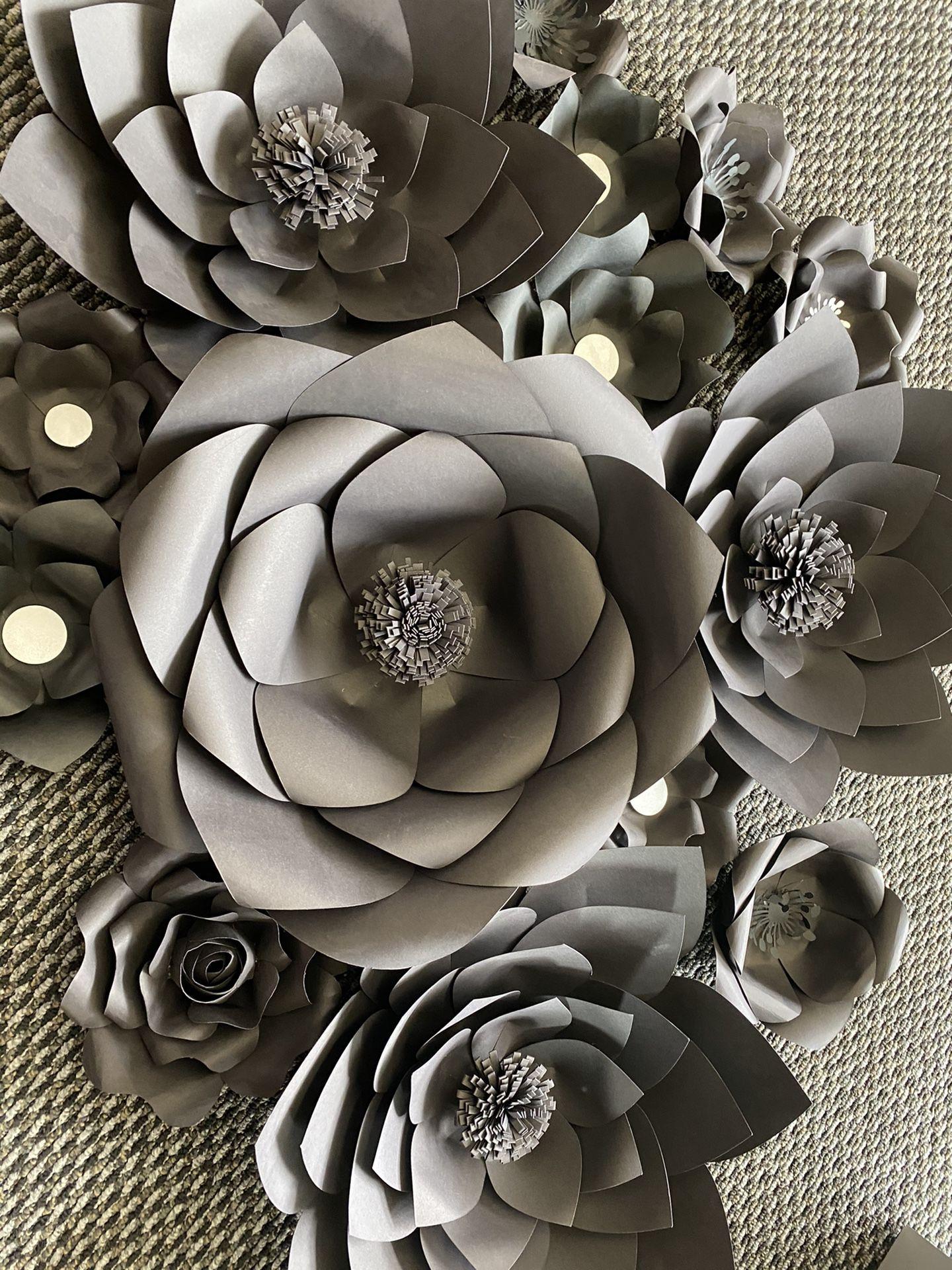 Black Paper Flowers Wedding Baby Shower Birthday Decorations