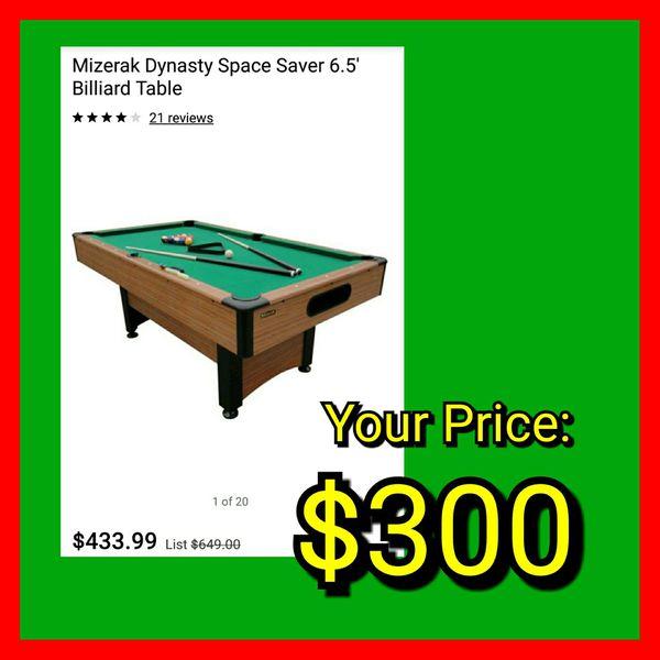 NEW Mizerak Dynasty Space Saver Ft Billiards Pool Table For Sale - Mizerak space saver pool table