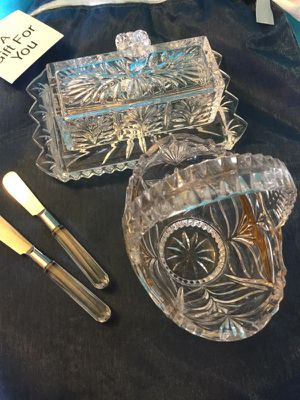 Crystal Basket & Crystal Butter dish with 2 knife / Home decoration 💎💙💎 for Sale in Alexandria, VA
