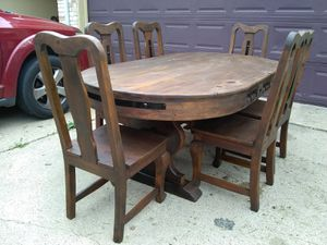 Photo RUSTIC RUSTIC DINING TABLE SIX CHAIRS W METAL DESIGN EXCELLENT CONDITIONS
