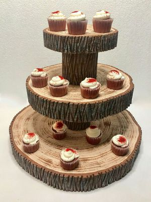 Styrofoam cupcake stand rustic tree slices wedding display macarons ...