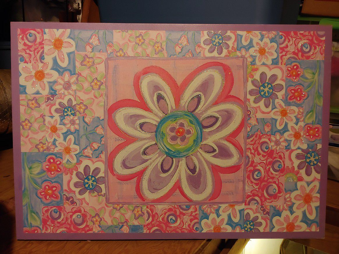 Attic Sale -floral art canvas