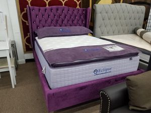 Purple velvet material queen size platform bed frame only for Sale in Hyattsville, MD