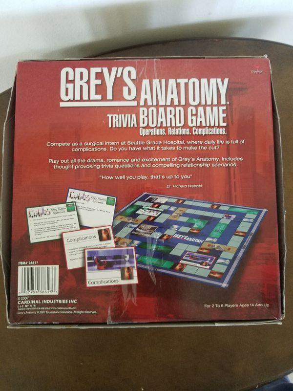 Greys Anatomy Trivia Board Game RARE Collectible (Collectibles) in ...