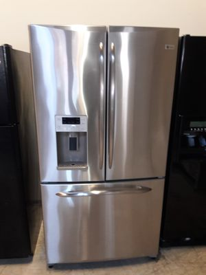 GE stainless steel refrigerator nice condition working perfectly clean and neat warranty and deliver for Sale in Baltimore, MD