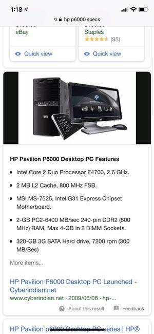 Hp Pavilion P6000 Specs