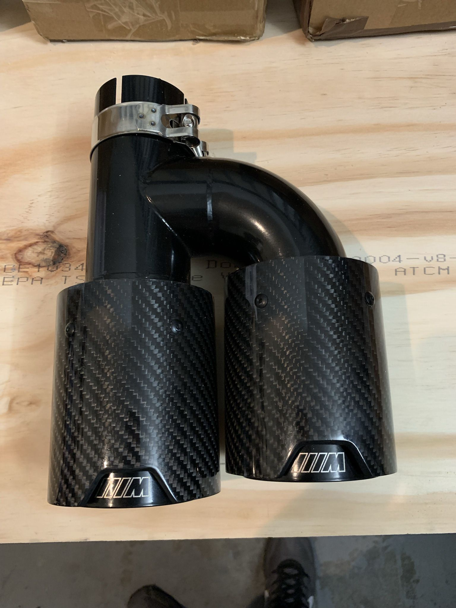 2.5'' Dual Wall Glossy Exhaust Pipes End Tips Carbon Fiber Stainless Steel Left
