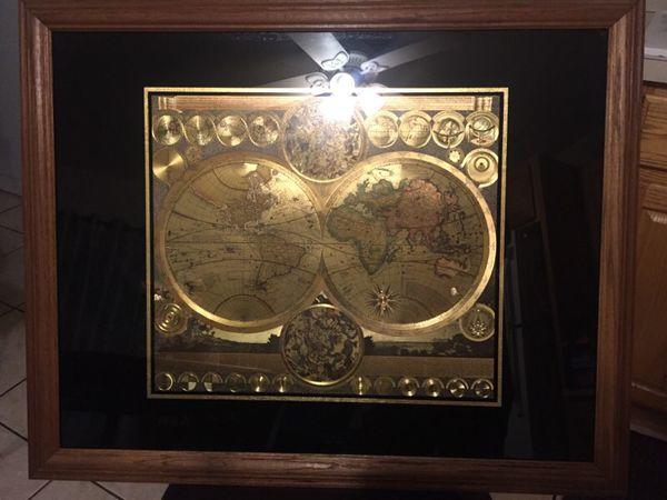 Gold Foil World Map Framed.Framed Peter Schenk The Elder 1645 1715 World Map On Foil For Sale