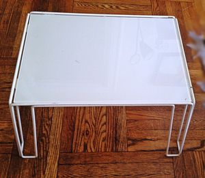 Photo Ikea White TOLGA Bedside Table with Glass Top