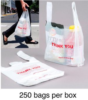 1/6 T-shirt Bag Large 12 X 6 X 21 (250, White) retail bag easy tear for Sale in Chicago, IL
