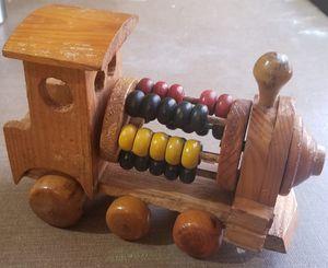 Photo Wood train Engine Folk Art style Toy Unique