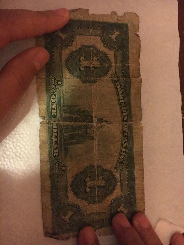 Canada 1923 authentic dollar bill