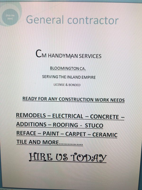 Handyman & home remodel for Sale in Bloomington, CA - OfferUp