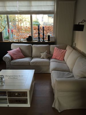 Ikea ektorp sectional with dark beige cover must see!! - Can Deliver for Sale in Arlington, VA