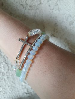 Opalite Cross Bracelet Set Thumbnail