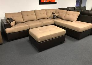 Brand New Tan Linen Sectional Sofa Couch + Ottoman for Sale in Arlington, VA
