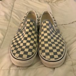 Pair of white-and-blue slip on shoes Thumbnail