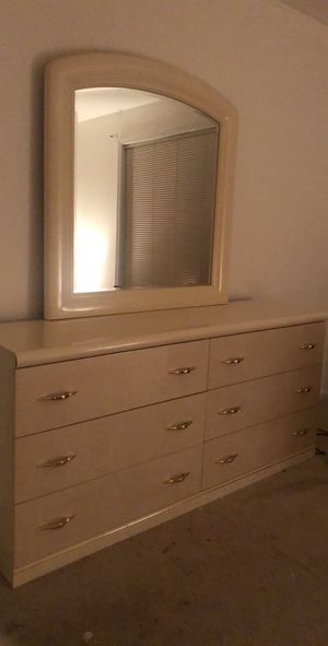 Dresser table with mirror and bed headboard for Sale in Lorton, VA