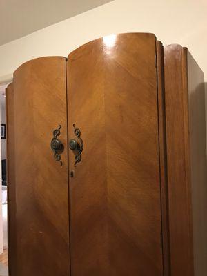 Original 1960's C.W.S. Ltd Cabinet Factory Wardrobe Closet. Wood with Metal decorative door accents for Sale in Bethesda, MD
